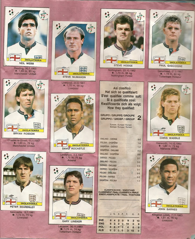 Panini World Cup Sticker Albums England World Cup Squad 1990